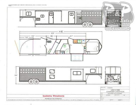 2021 Lakota Charger LE81415BB 35 Livestock Trailer LQ