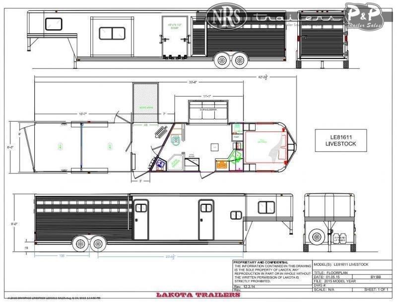2022 Lakota Charger LE81611 33 ' Livestock Trailer LQ