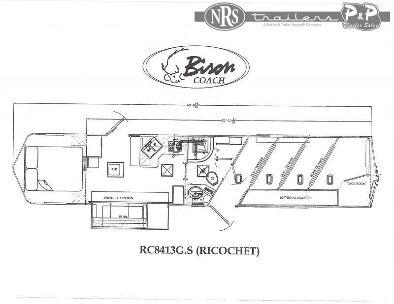 2021 Bison Trailers Ricochet RC8413G.S 4 Horse Slant Load Trailer 13 FT LQ With Slides w/ Ramps