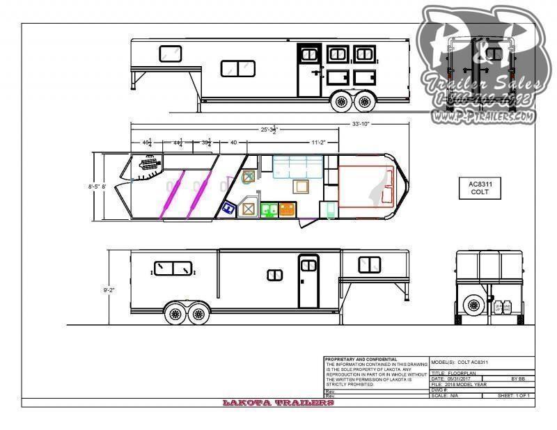 2021 Lakota AC8311 3 Horse Slant Load Trailer 11 FT LQ With Slides