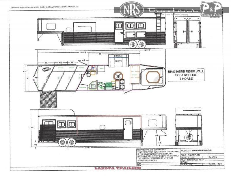 2022 Lakota Bighorn BH8316SRBRSL 3 Horse Slant Load Trailer 16 FT LQ With Slides
