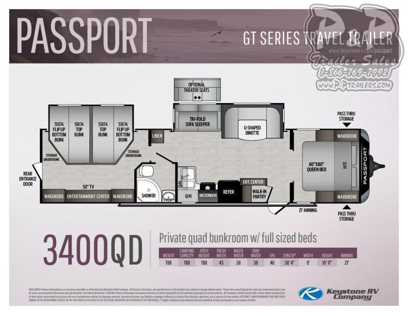 2021 Keystone RV Passport 3400QD Travel Trailer RV