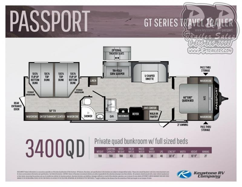 2021 Keystone RV Passport 3400QD Travel Trailer RV