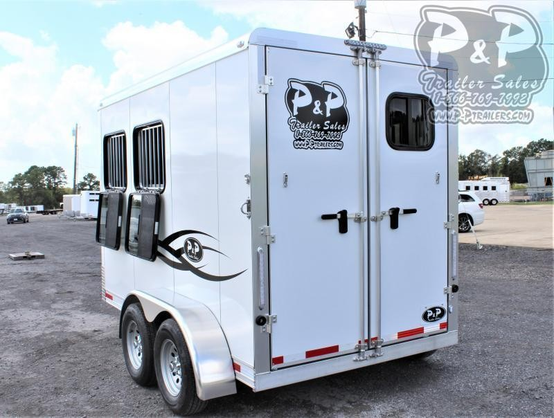2021 P and P 64136S-2SL-BP-E 2 Horse Slant Load Trailer