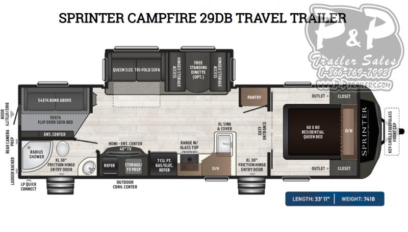 2020 Keystone Sprinter Campfire 29DB 31 ft Travel Trailer RV