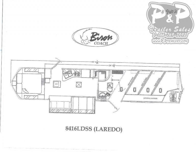 2020 Bison Trailers Laredo 8416LDSS 4 Horse Slant Load Trailer 16 FT LQ With Slides