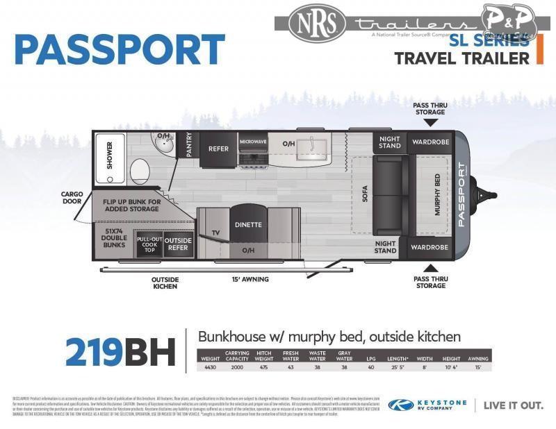 2021 Keystone RV Passport 219BH 25 ' Travel Trailer RV