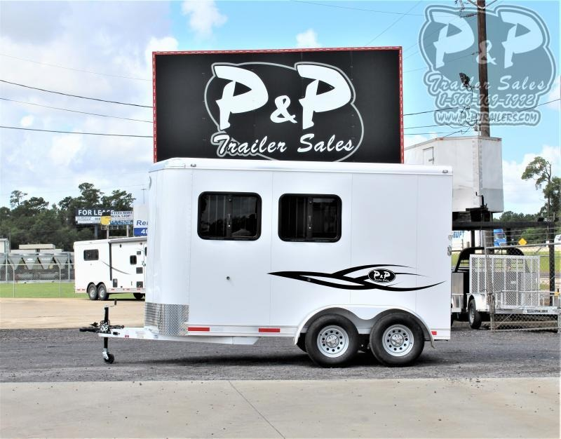 2021 P and P 64136S-2SL-BP-E 2 Horse Slant Load Trailer