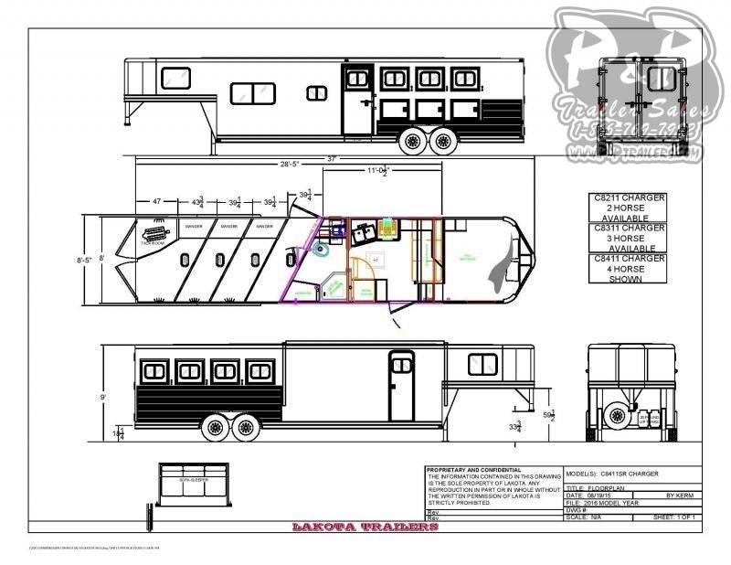 2021 Lakota C8411SR 4 Horse Slant Load Trailer 11 FT LQ