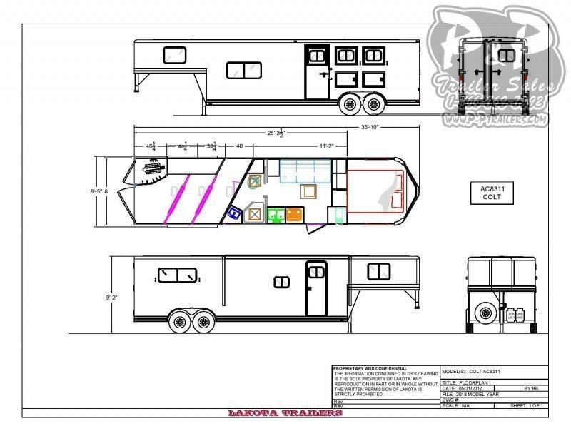 2021 Lakota Colt AC8311NS 3 Horse Slant Load Trailer 11 FT LQ