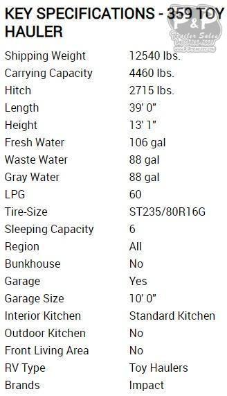 2020 Keystone Impact 359 39 ft Toy Hauler RV