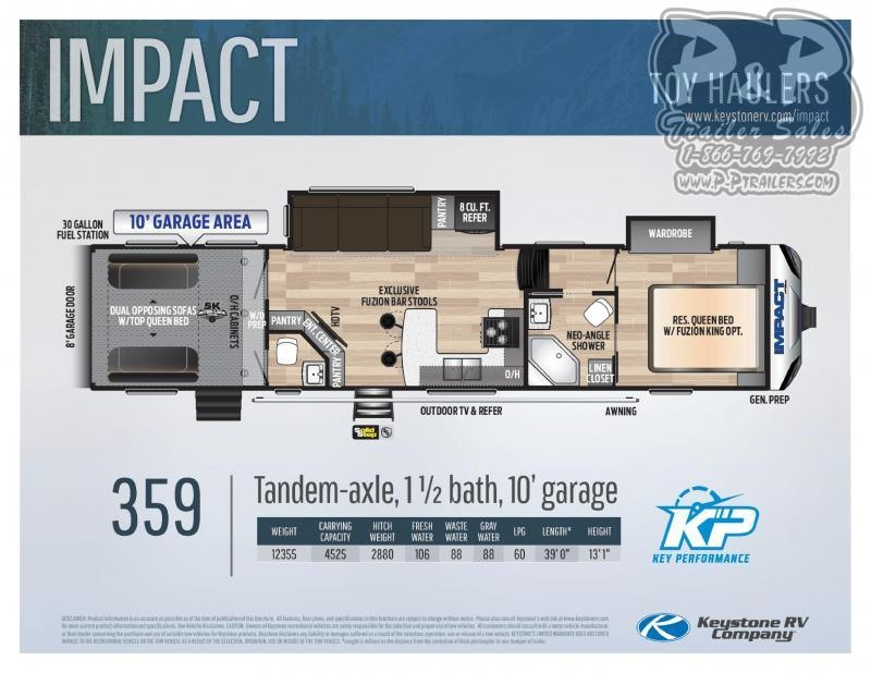 2021 Keystone RV Impact 359 39' Toy Hauler RV