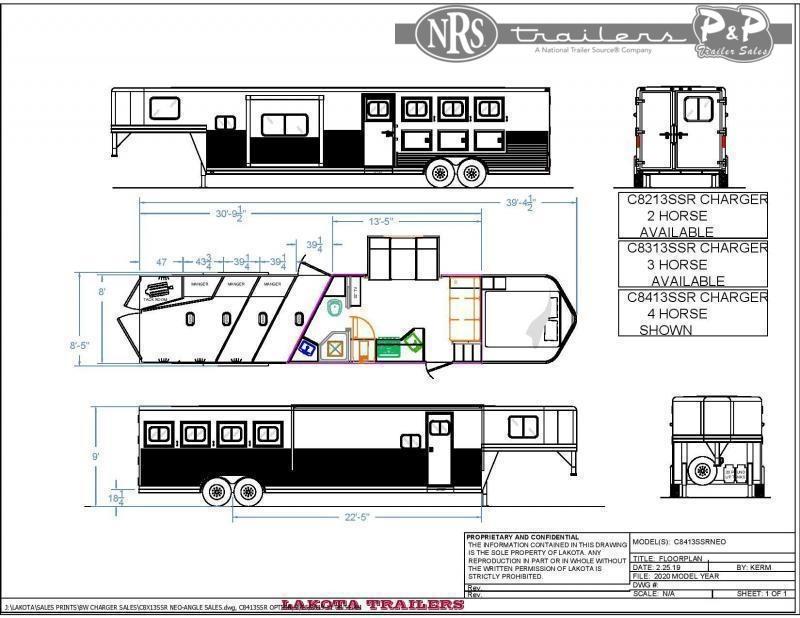 2022 Lakota Charger C8413SR 4 Horse Slant Load Trailer 13 FT LQ w/ Slideouts