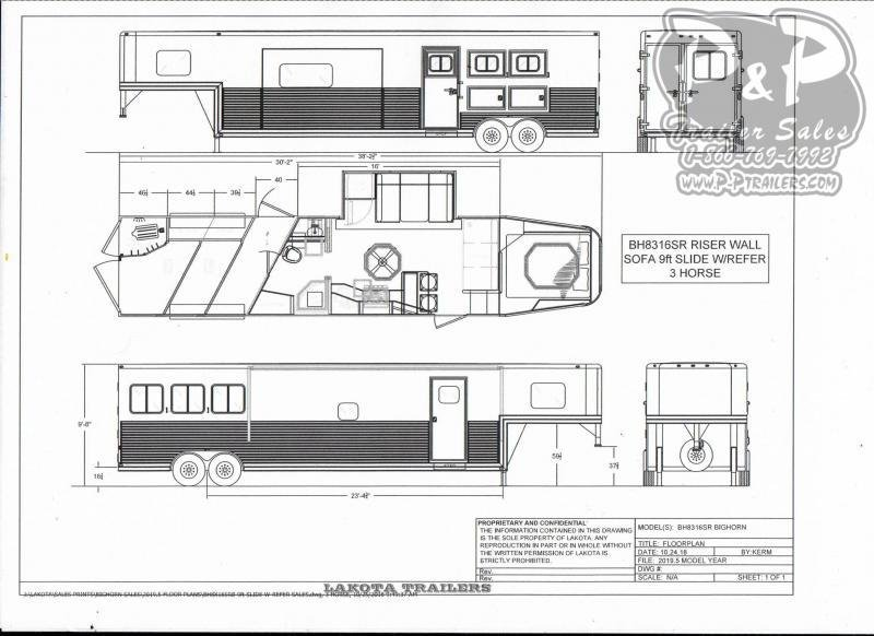 2021 Lakota Bighorn BH8316SRBRSL 3 Horse Slant Load Trailer 16 FT LQ With Slides