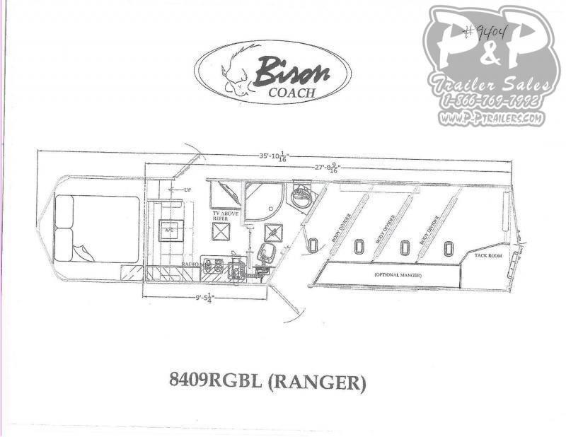 2021 Bison Trailers Ranger 8409RGBL 4 Horse Slant Load Trailer 9 FT LQ