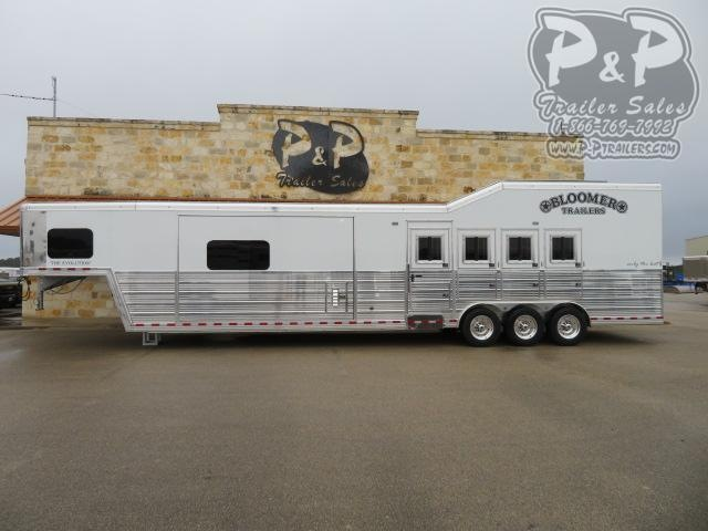 2021 Bloomer 8418PCOLCW 4 Horse Slant Load Trailer 18 FT LQ With Slides w/ Ramps