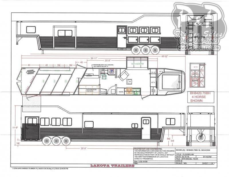 2021 Lakota Bighorn BH8420TRSL 4 Horse Slant Load Trailer 20 FT LQ With Slides w/ Ramps