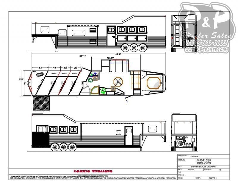 2021 Lakota Big Horn BH8416TSRRSL 4 Horse Slant Load Trailer 16 FT LQ With Slides w/ Ramps