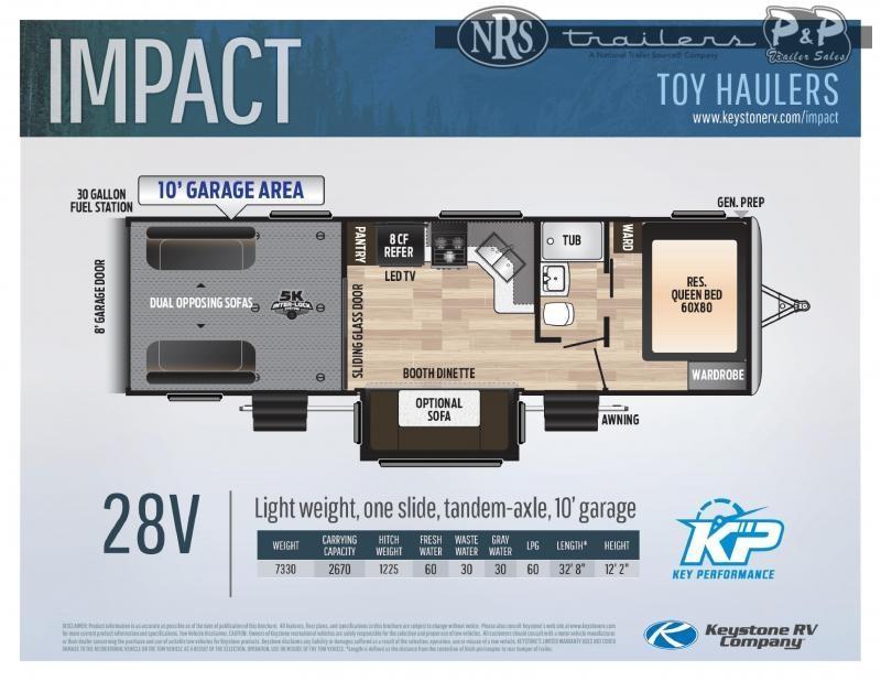 """2021 Keystone RV Impact 28V 392 """" Toy Hauler RV"""