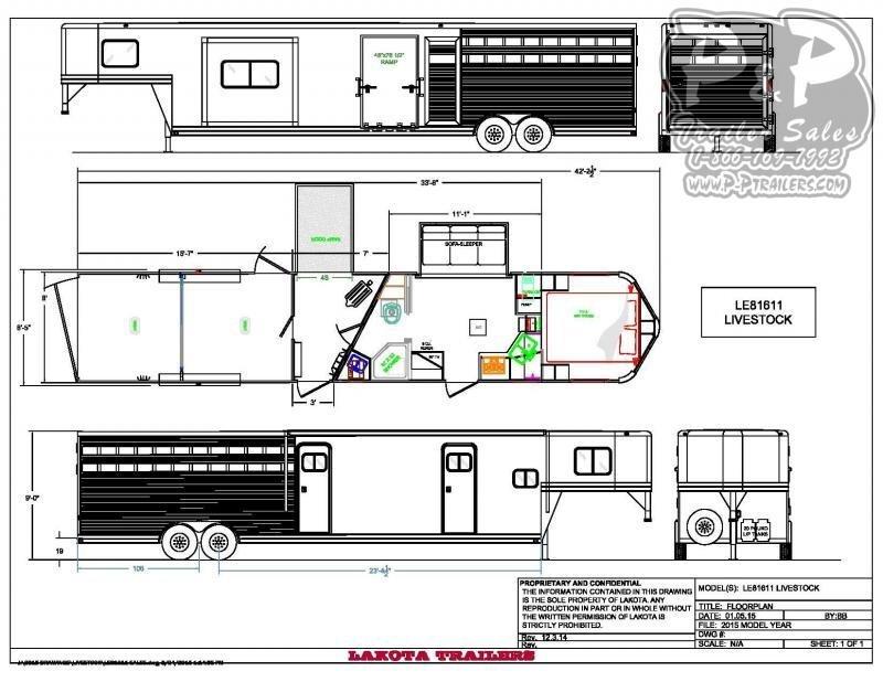 2021 Lakota Charger LE81611 33.67 ft Livestock Trailer LQ