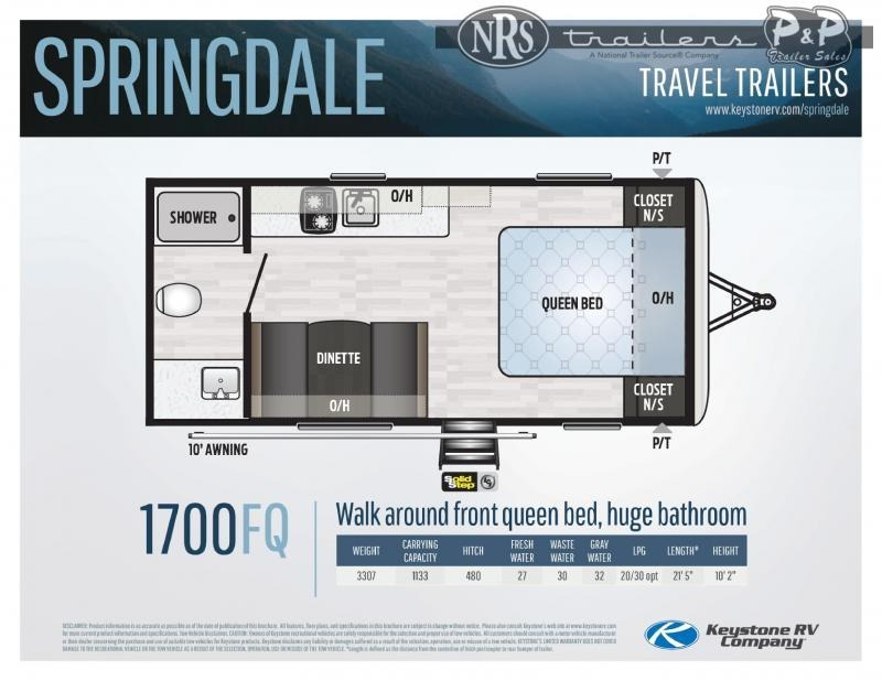2021 Keystone RV Springdale MINI 1700FQ 21 ' Travel Trailer RV