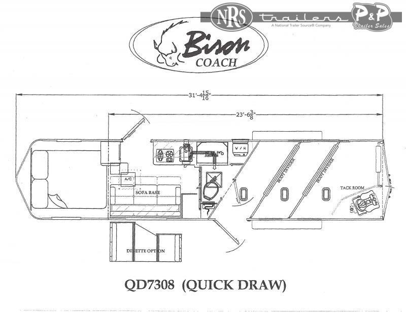 2022 Bison Trailers Quick Draw QD7308 3 Horse Slant Load Trailer 8 FT LQ