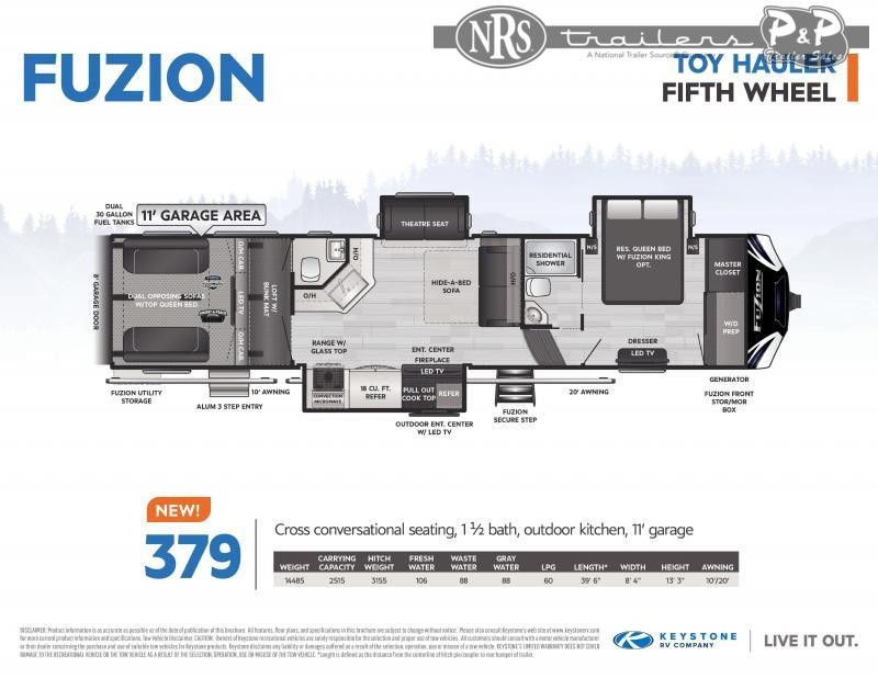 2021 Keystone RV Fuzion 379 39 ' Toy Hauler RV