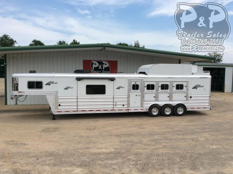 2021 Platinum Coach 8414OLRSL 4 Horse Slant Load Trailer 0 FT LQ With Slides w/ Ramps