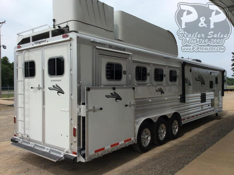 2021 Platinum Coach 8415OLRSL 4 Horse Slant Load Trailer 15 FT LQ With Slide w/ Side Ramp