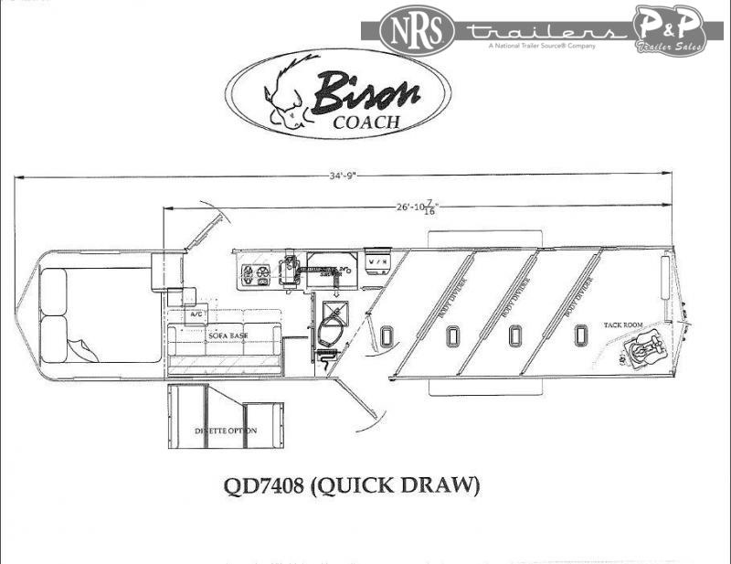 2021 Bison Trailers Quick Draw QD7408 4 Horse Slant Load Trailer 8 FT LQ
