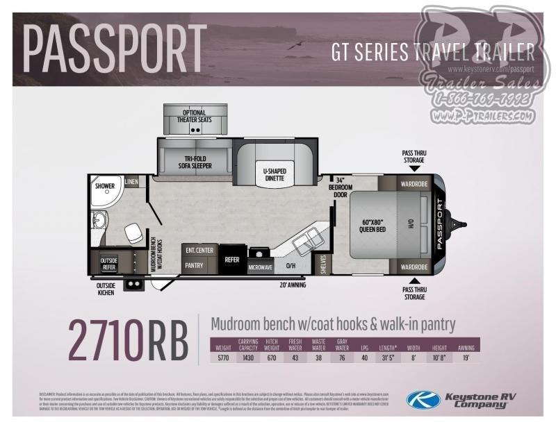 "2021 Keystone RV Passport GT 2710RB 377 "" Travel Trailer RV"