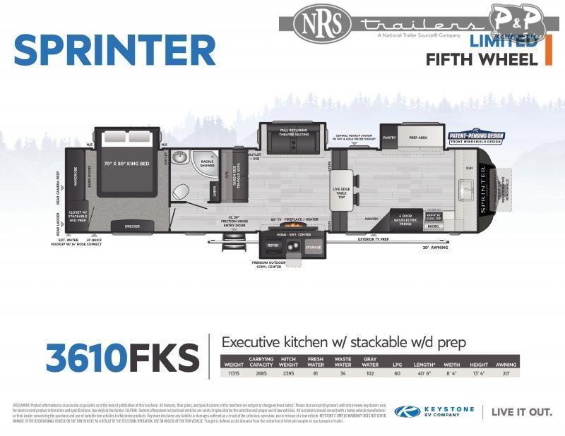 2021 Keystone RV Sprinter Limited 3610FKS 40 ' Fifth Wheel Campers RV
