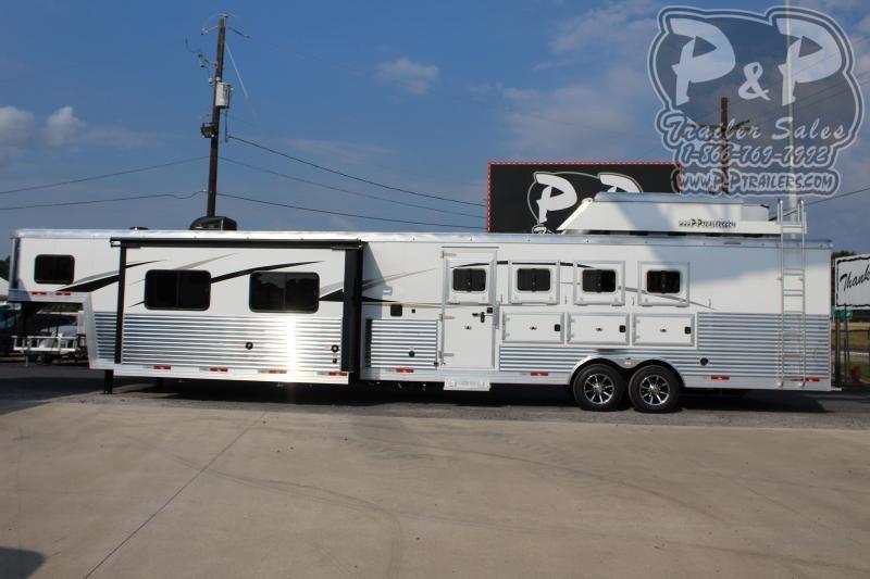 2021 Bison Trailers Premiere 8417PRDSRSL 4 Horse Slant Load Trailer 17 FT LQ With Slides w/ Ramps
