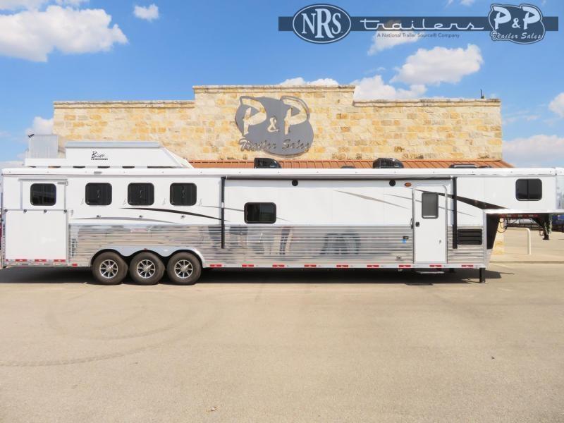 2020 Bison Trailers Ranger 8417RGLBHRSL 4 Horse Slant Load Trailer LQ With Slides w/ Ramps