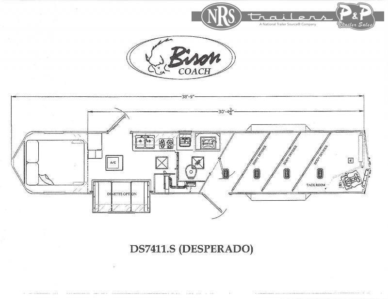 2022 Bison Trailers Desperado DS7411.S 4 Horse Slant Load Trailer 11 FT LQ With Slides