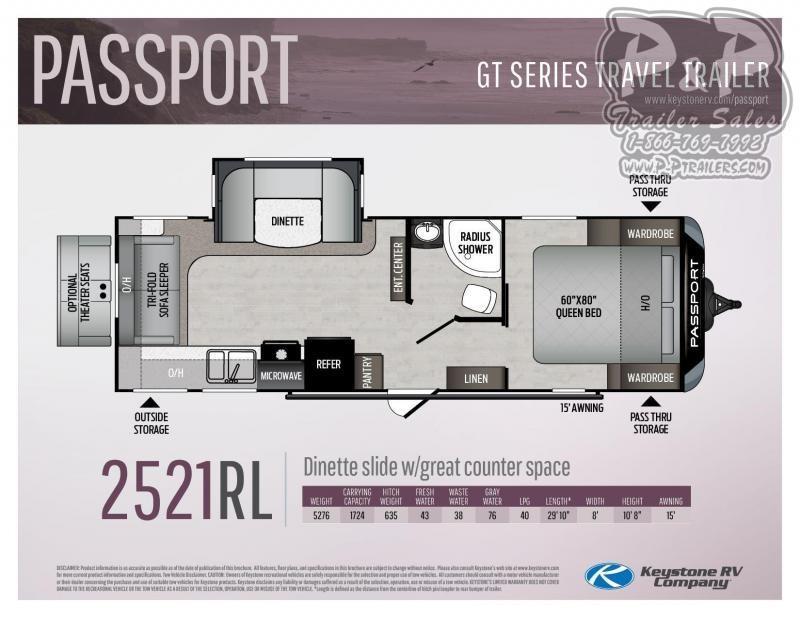 2021 Keystone RV Passport 2521RL GT Travel Trailer RV