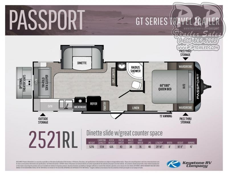 2021 Keystone RV Passport 2521RL GT Travel Trailer RV