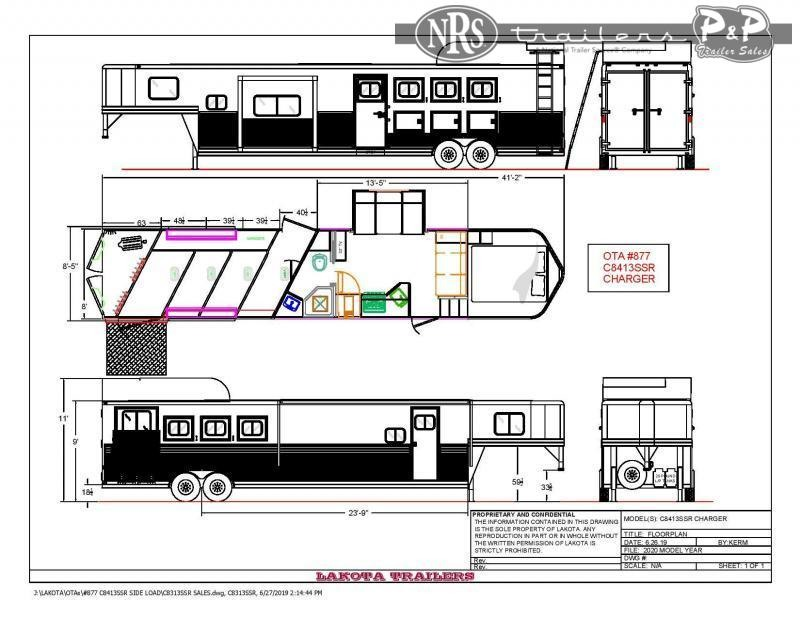 2022 Lakota Charger C8413SRRSL 4 Horse Slant Load Trailer 13 FT LQ With Slides w/ Ramps