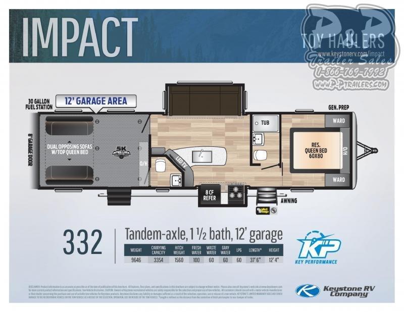 """2021 Keystone RV Impact 332 37' 6"""" Toy Hauler RV"""