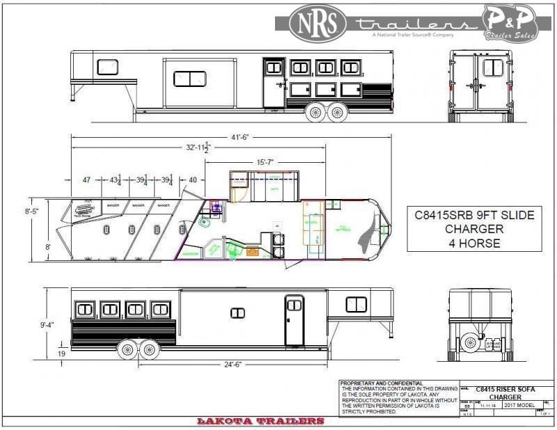 2021 Lakota Charger C8415SRB 4 Horse Slant Load Trailer 15 FT LQ w/ Slideouts