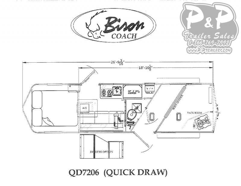2021 Bison Trailers Quick Draw QD7206 2 Horse Slant Load Trailer 6 FT LQ