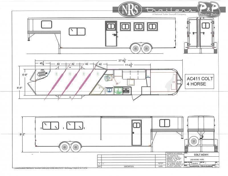 2022 Lakota Colt AC411NS 4 Horse Slant Load Trailer 11 FT LQ