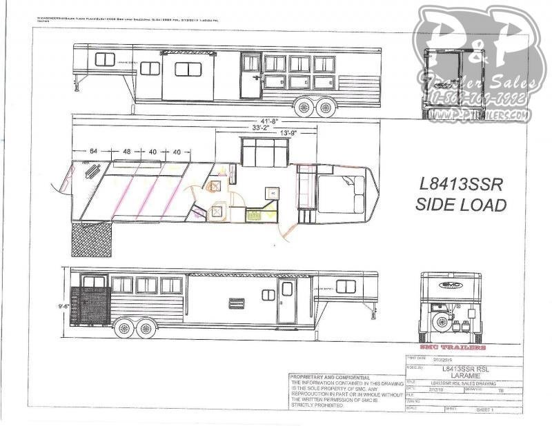 2021 SMC Horse Trailers SL8413SSRRSL 4 Horse Slant Load Trailer 13 FT LQ With Slides w/ Ramps