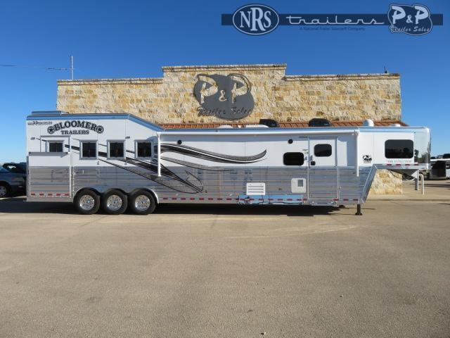 2021 Bloomer 8418PCOLSR Outlaw Conversions 4 Horse Slant Load Trailer 18 FT LQ w/ Slideout