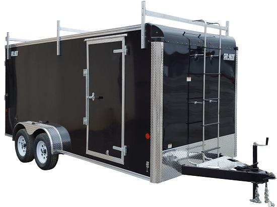 2020 Car Mate Trailers CM716CC-HD/CTR - 7'W Tandem Axle Custom Cargo Enclosed Contractor Trailer - White