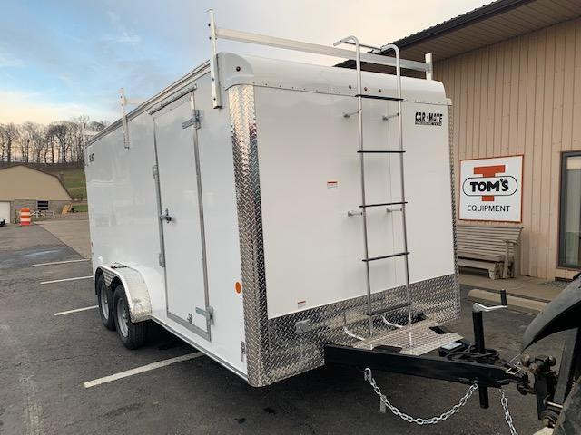 2021 Car Mate Trailers CM716CC-HD/CTR - 7'W Tandem Axle Custom Cargo Enclosed Contractor Trailer - White
