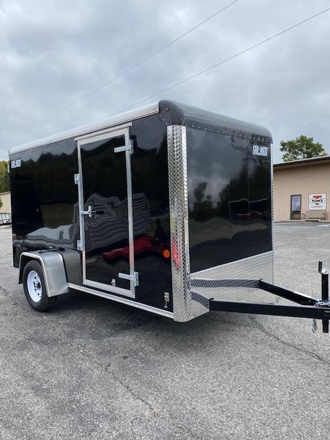 2021 Car Mate Trailers CM612CC -6'W Single Axle Custom Cargo Trailer - BLACK W/ RAMP DOOR