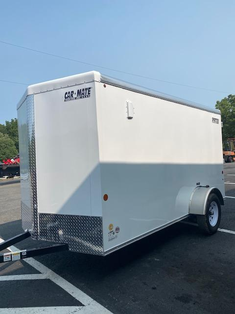 2021 Car Mate Trailers CM612ECV Single Axle Enclosed Cargo Trailer V Nose W/ Ramp - White