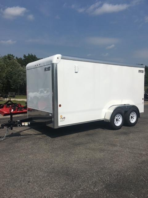 2021 Car Mate Trailers CM714EC-HD Tandem Axle Enclosed Cargo Trailer WHITE W/ BARN DOORS