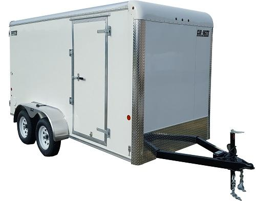 2021 Car Mate Trailers CM714EC-HD Tandem Axle Enclosed Cargo Trailer WHITE W/ BARN DOORS
